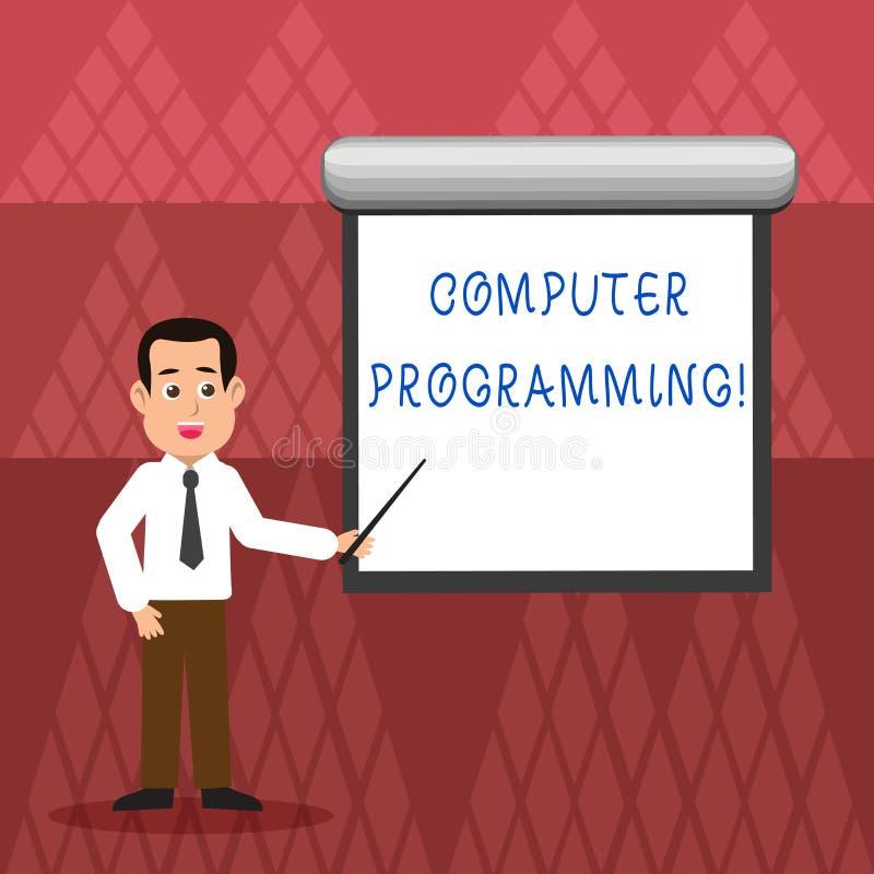 Inscription de la programmation par ordinateur d'apparence de note Processus de pr?sentation de photo d'affaires qui instruit un  illustration stock