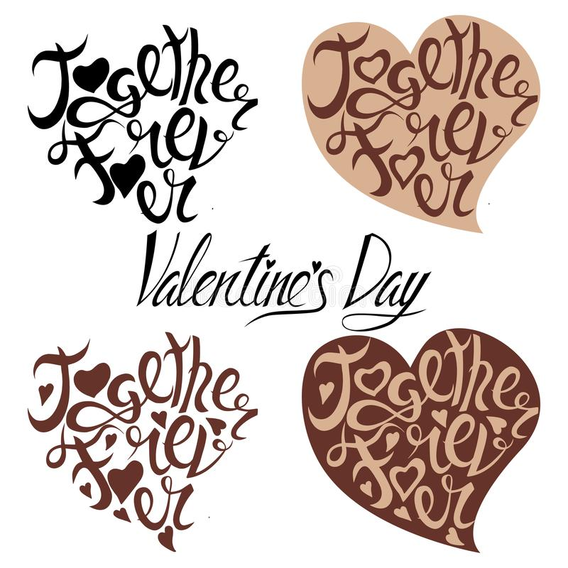 Inscription de la Saint-Valentin sous forme de coeur de café illustration de vecteur