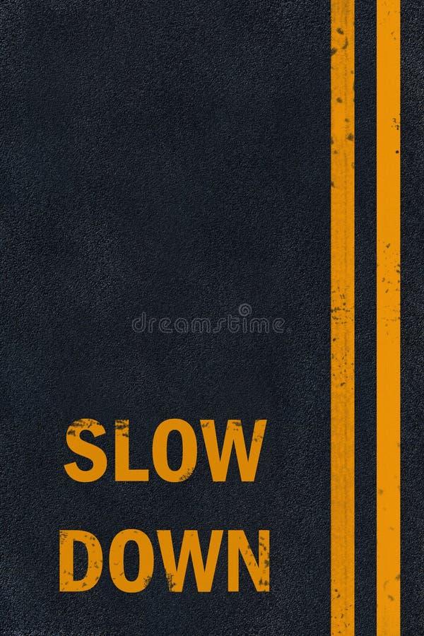 Inscription de ralentissement d'asphalte photos libres de droits