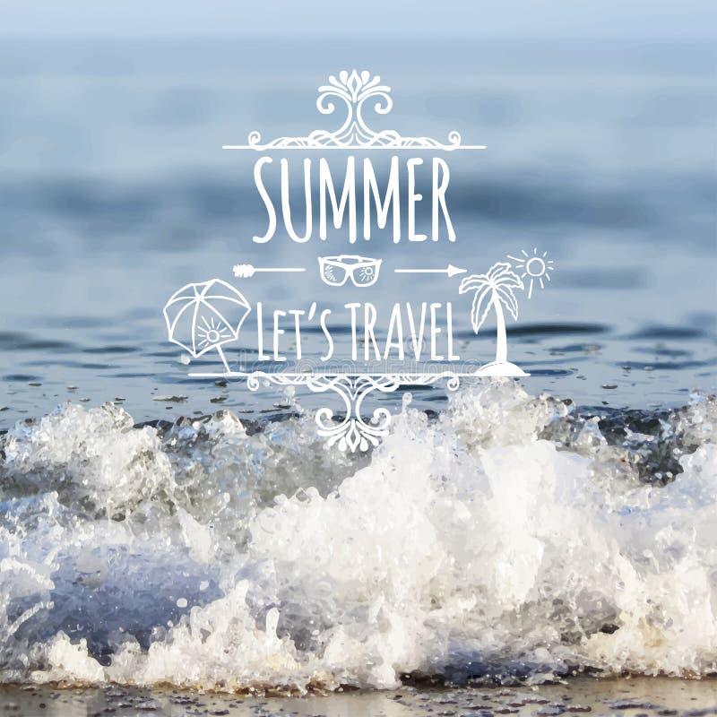Inscription de vacances d'été et éléments tirés par la main illustration de vecteur