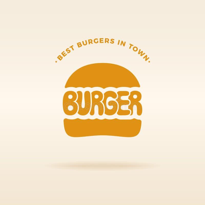 Inscription de vecteur d'emblème de logo d'hamburger illustration libre de droits