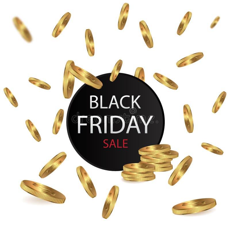 Inscription de vente de Black Friday au cadre d'or autour des pièces de monnaie Calibre de Black Friday pour votre bannière ou af illustration libre de droits