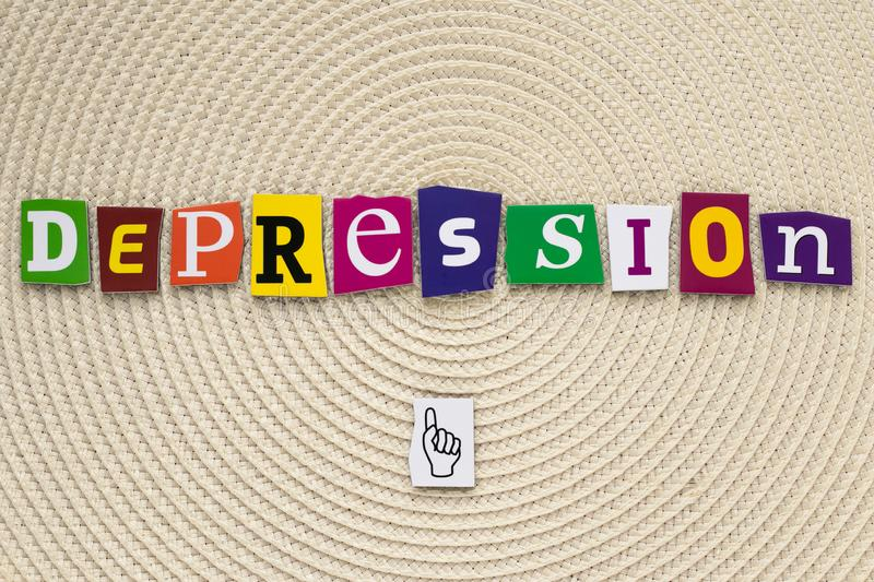 Inscription depression. A word writing text depression made of different magazine newspaper letter on a bright background. Inscription depression. A word royalty free stock image