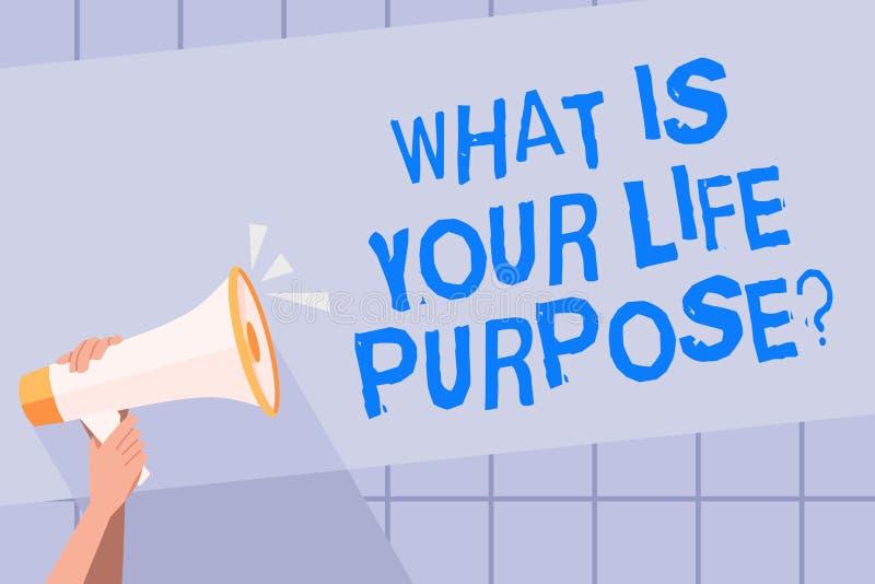 Inscription des textes d'écriture ce qui est votre vie Purposequestion Les objectifs personnels de détermination de signification illustration de vecteur
