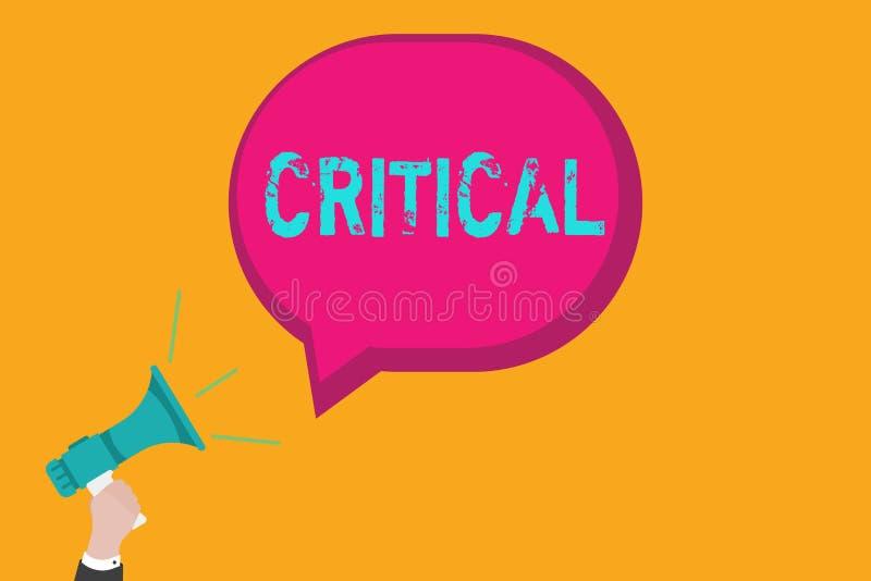 Inscription des textes d'écriture critique La signification de concept exprimant la désapprobation défavorable commente déception illustration de vecteur