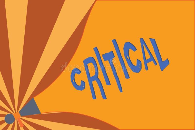 Inscription des textes d'écriture critique La signification de concept exprimant la désapprobation défavorable commente déception illustration stock