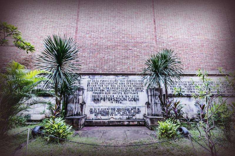 The inscription describe the list of Batavia Jakarta present Governor General, at Puppet Museum. Old City Tourism Area. stock image