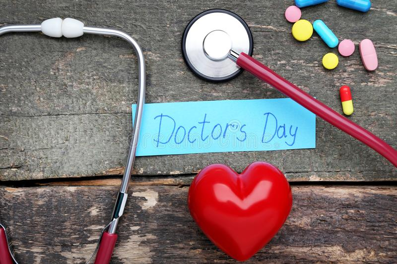 Inscription Doctors Day stock photography