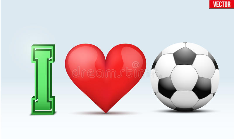 Inscription du football d'amour illustration de vecteur
