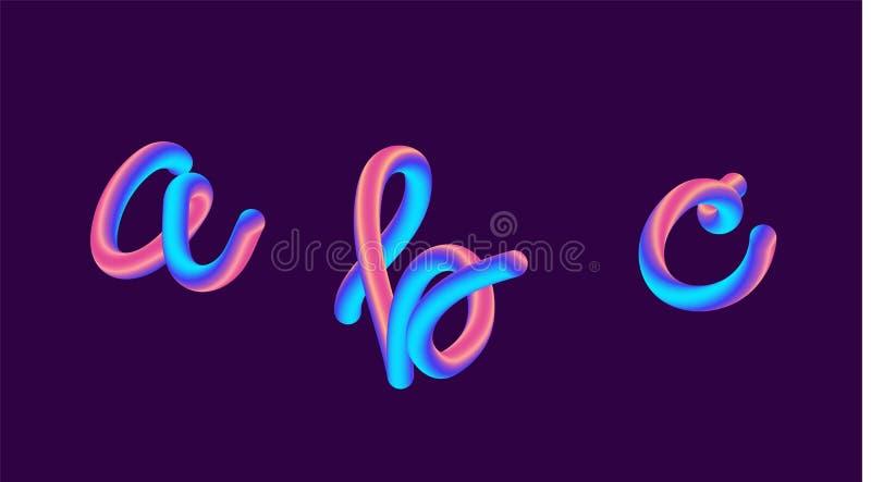 inscription du gradient 3d olographe La police a placé avec la lettre - a, b, c Forme vibrante de gradient Chemin liquide de coul illustration stock