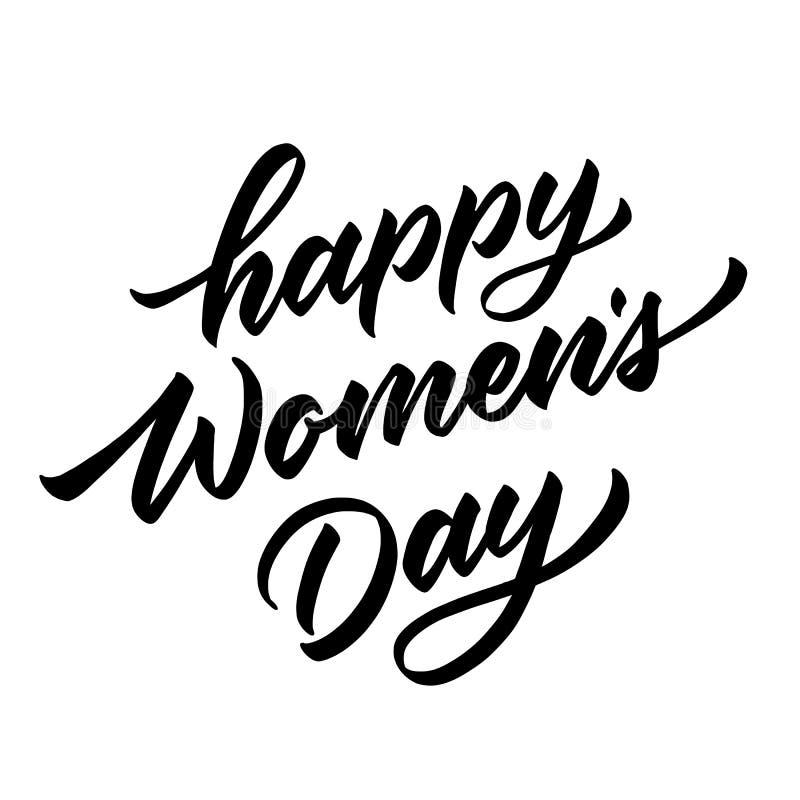 Inscription du jour des femmes heureuses de vecteur tirée par la main illustration de vecteur