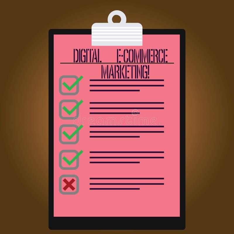 Inscription du marketing de commerce électronique de Digital d'apparence de note Achats de photo d'affaires et vente de présentat illustration de vecteur