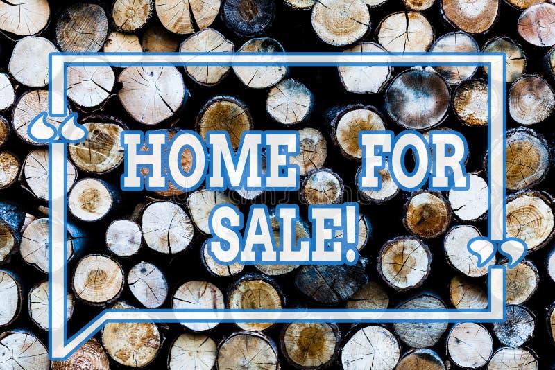 Inscription du showingHome de note à vendre Chambre de présentation de photo d'affaires disponible pour être offre achetée d'immo illustration de vecteur
