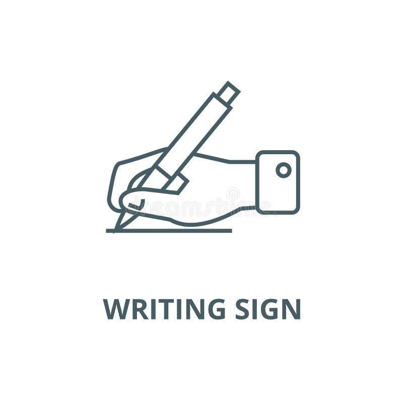 Inscription du signe, main avec la ligne icône, concept linéaire, signe d'ensemble, symbole de vecteur de stylo illustration libre de droits