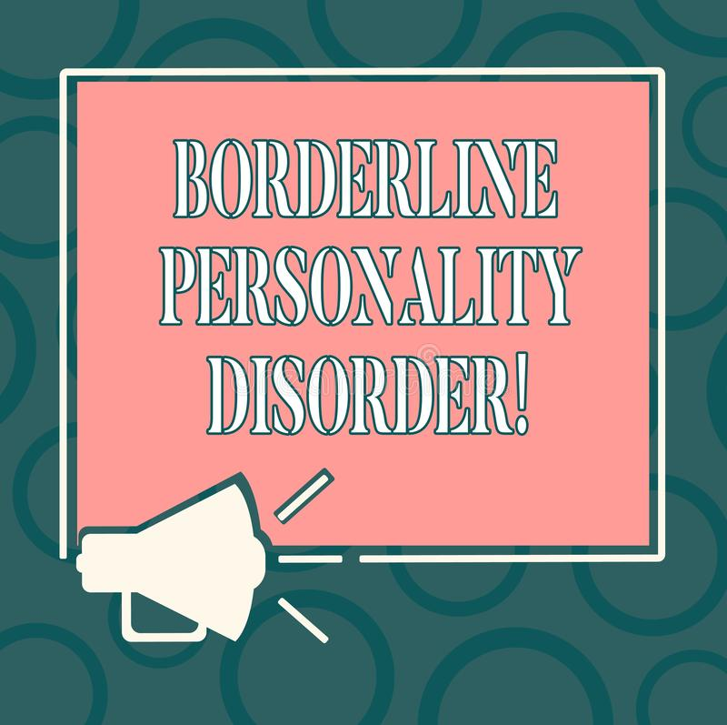 Inscription du trouble de la personnalité limite d'apparence de note Photo d'affaires présentant le trouble mental marqué par des illustration stock