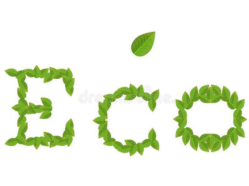 Inscription ECO from green leaves with leaf on white stock illustration