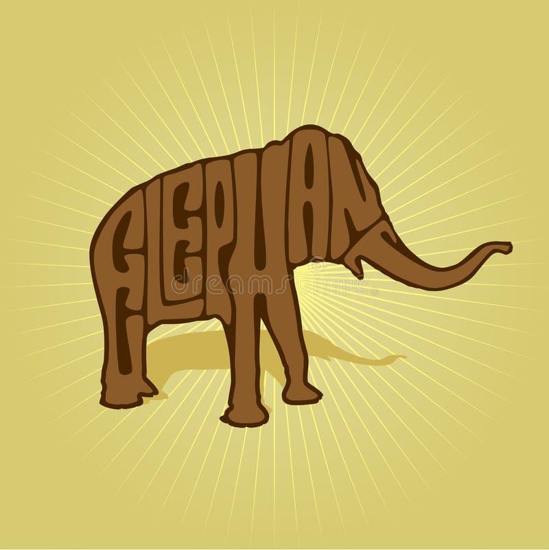Inscription on Elephant silhouette vector illustration