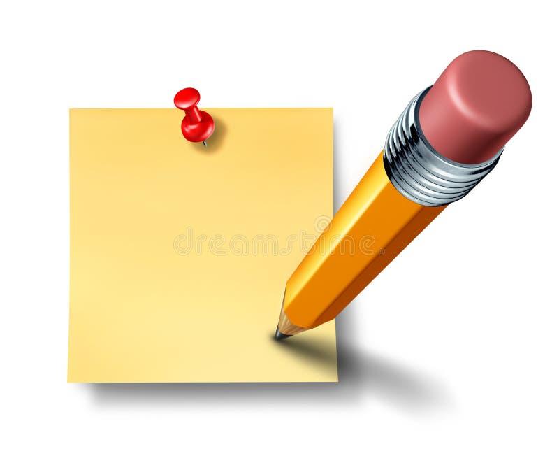 Inscription en fonction une note blanc de bureau avec un crayon illustration de vecteur