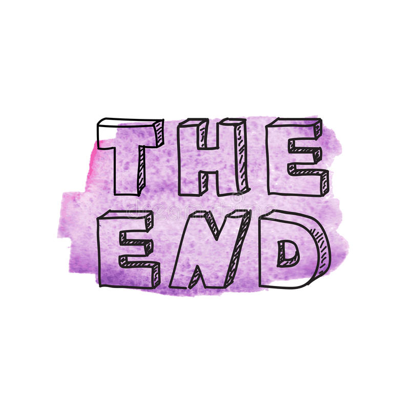 Inscription The end. On purple watercolor background vector illustration