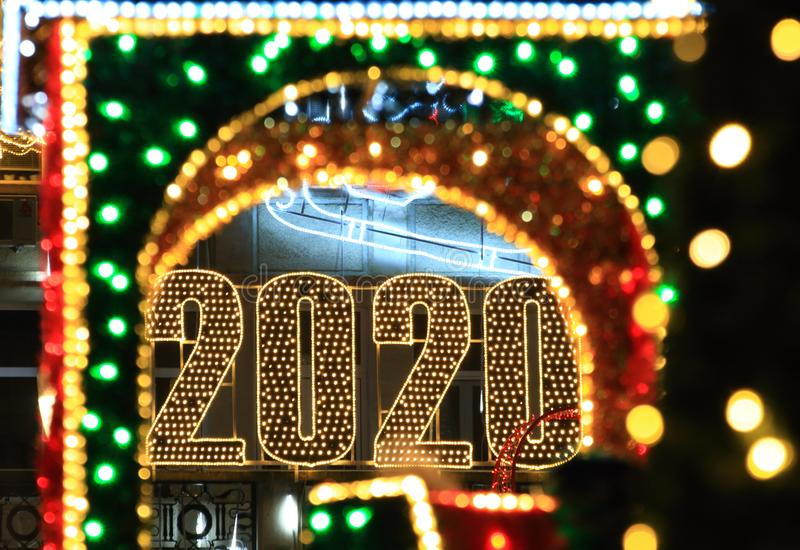 Inscription et décoration de Noël 2020 photo stock