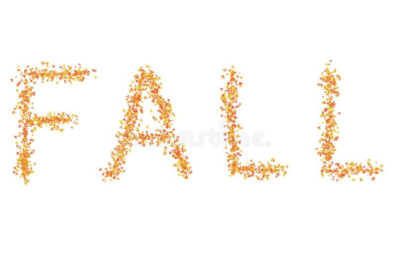 Inscription - Fall folded message autumn art design on a white background yellow leaves vector illustration