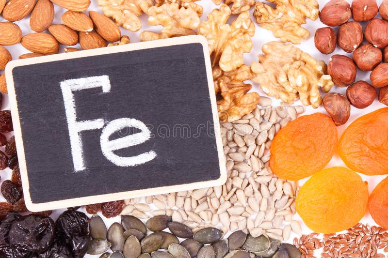 Inscription Fe and food containing iron, concept of healthy nutrition as source vitamins, minerals and fiber. Inscription Fe and food containing iron, concept of royalty free stock photos