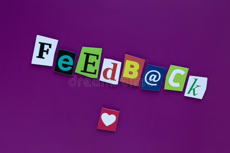 Inscription feedback. A word writing text feedback made of different magazine newspaper letter. Project management royalty free stock photo