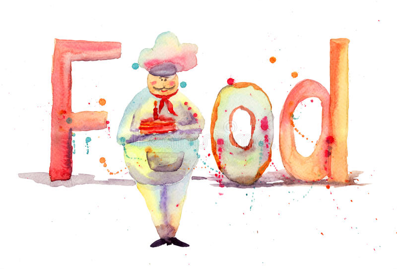 Download Inscription food with chef stock illustration. Image of baked - 27820668