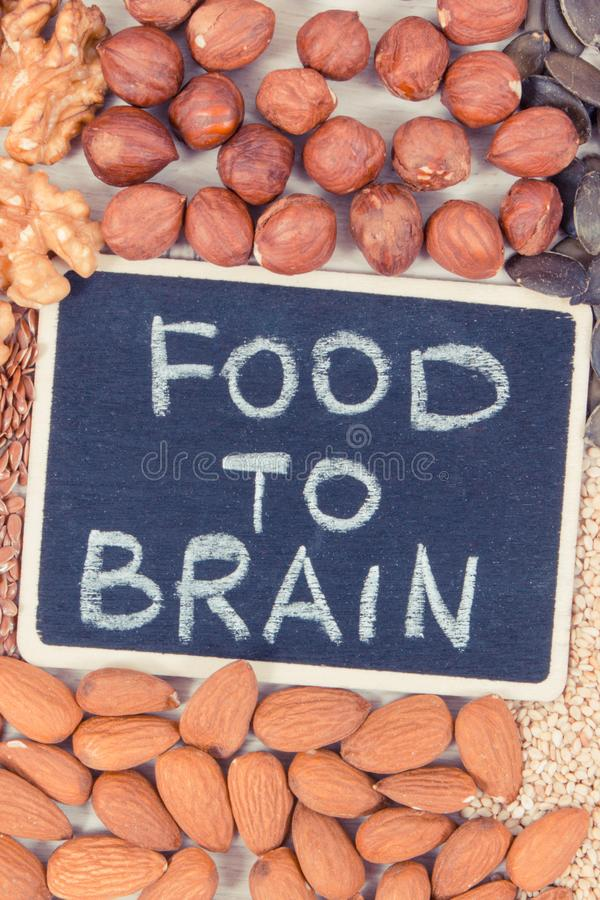 Inscription food to brain and best nutritious food for health and good memory, healthy eating concept stock photography