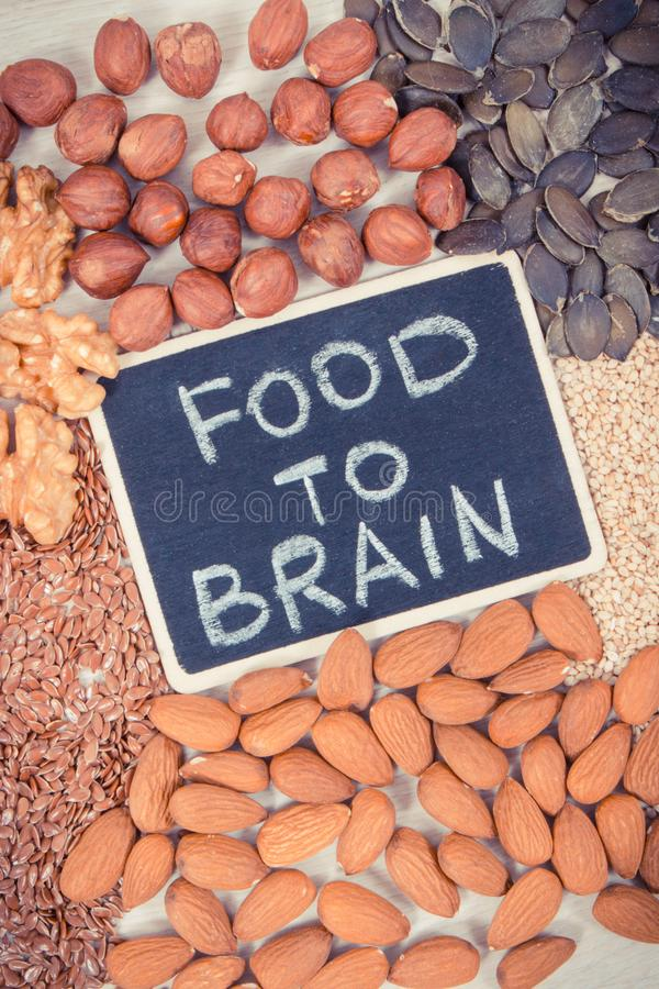 Inscription food to brain with healthy eating as source vitamin and minerals, food for good memory concept stock images