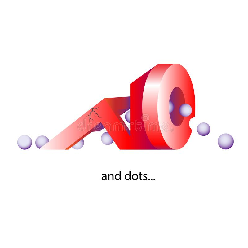 The inscription in the form 3d shapes ,NO with a points, dots. The illustration includes words of doubt or denial. Vector illustra. Tion vector illustration