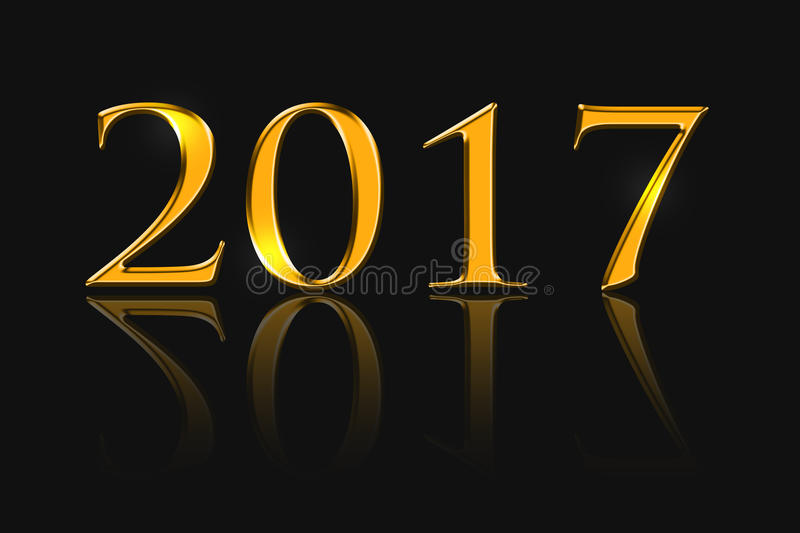 The inscription 2017, golden color. New Year background stock illustration