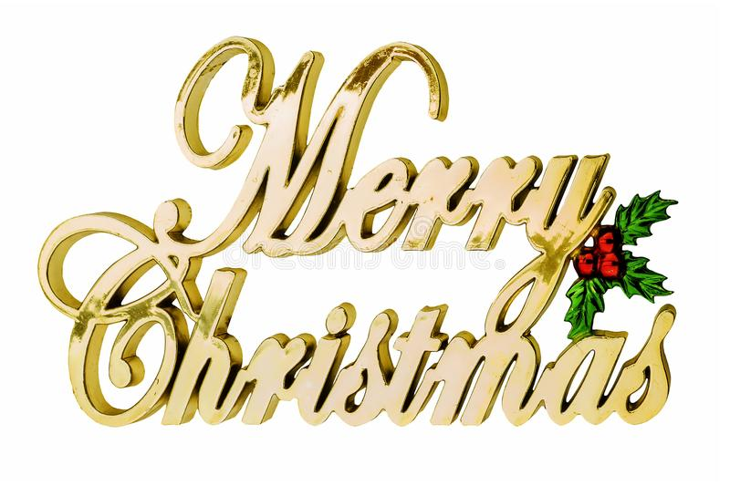 The inscription in golden letters: Merry Christmas stock photos