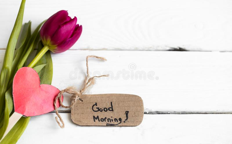 Inscription good morning,. The concept of spring and women`s holiday stock photos