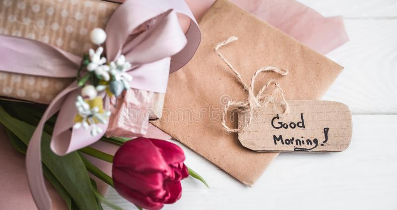 Inscription good morning,. The concept of spring and women`s holiday royalty free stock photos