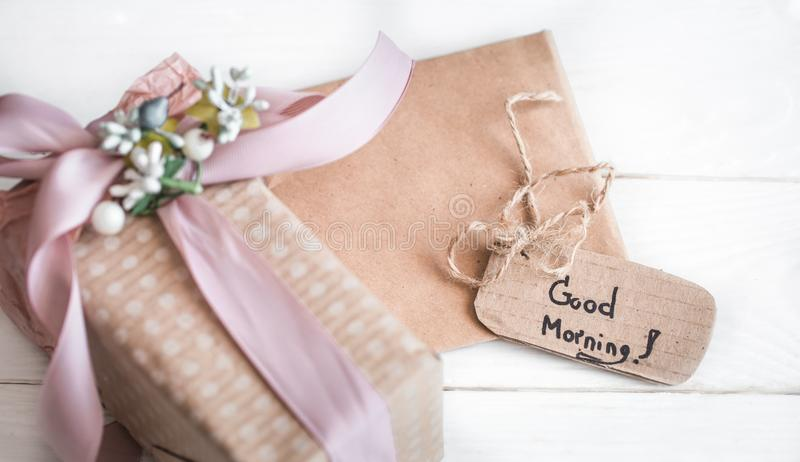 Inscription good morning,. The concept of spring and women`s holiday royalty free stock image