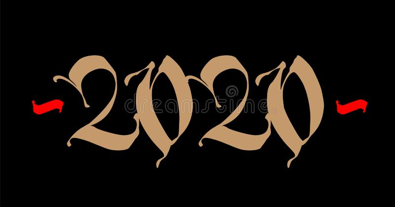 Inscription 2020, Gothic. Vector. New Year in medieval style. Golden logo on a black background royalty free illustration