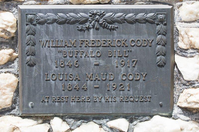 Inscription grave de Buffalo Bill images libres de droits