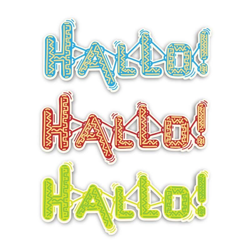 Inscription Hallo , vector stock illustration