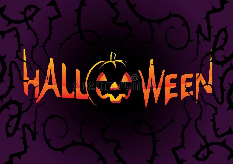 Inscription Halloween on dark background royalty free illustration