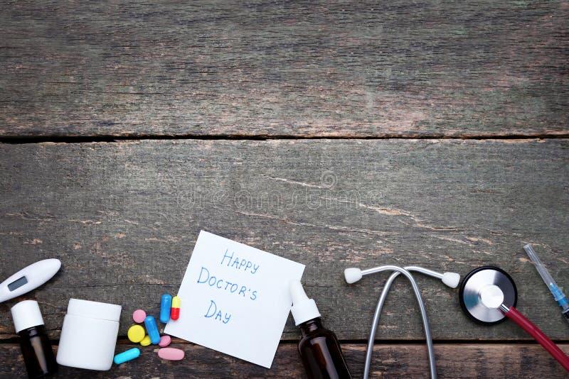 Inscription Happy Doctors Day stock photos