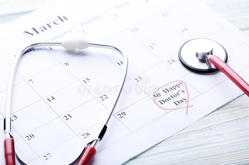 Inscription Happy Doctors Day stock images