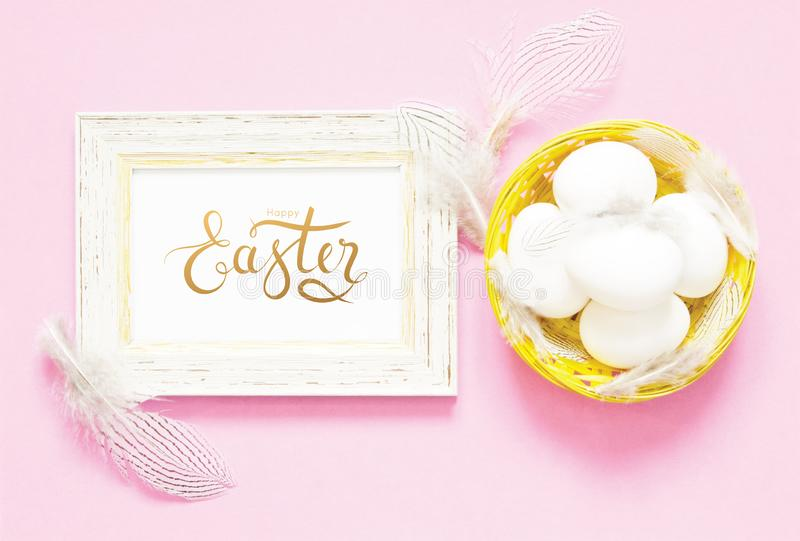 Inscription Happy Easter. stock photography