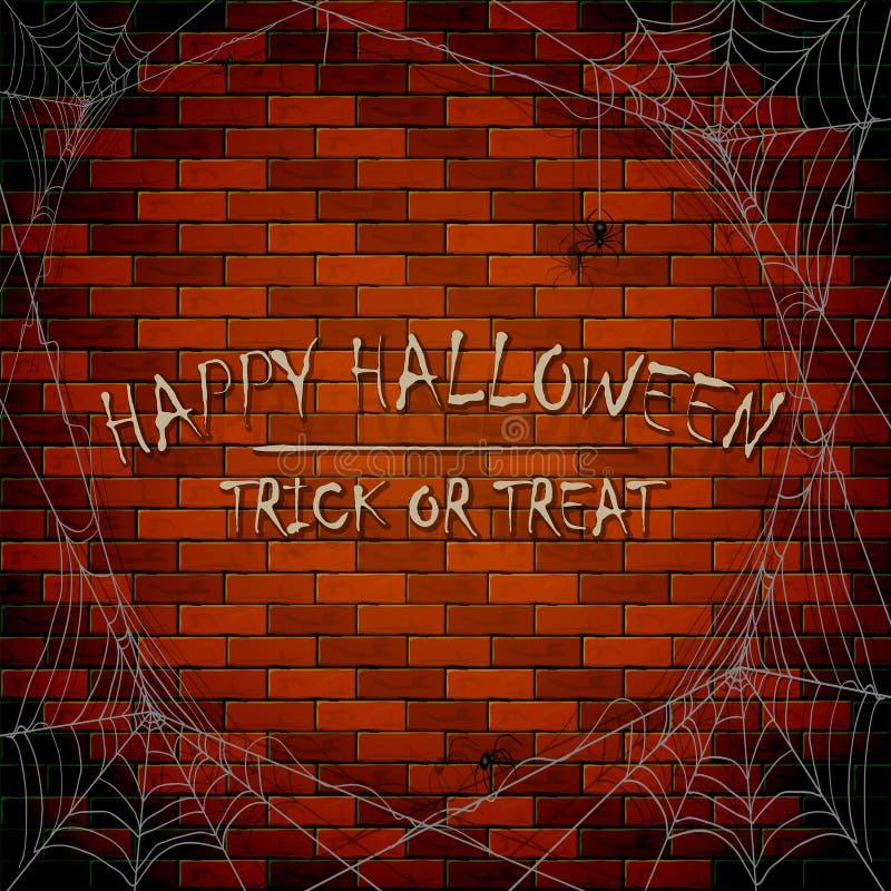 Inscription Happy Halloween on brick wall background with cobweb royalty free illustration