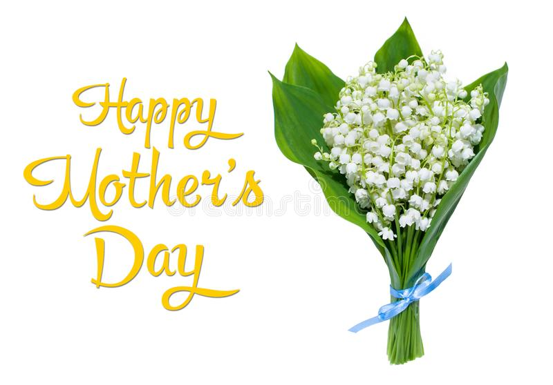 The inscription Happy Mother`s Day and lilies of the valley on a white background, top view royalty free stock photo