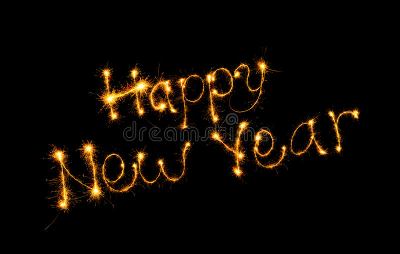 Inscription Happy new year. Bengal fires royalty free stock images