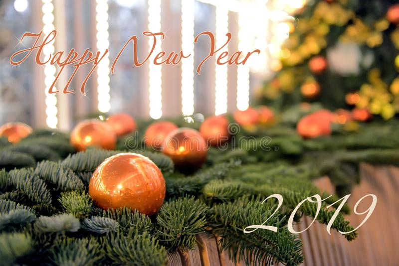 Inscription Happy new year 2019 and Christmas decoration stock photography