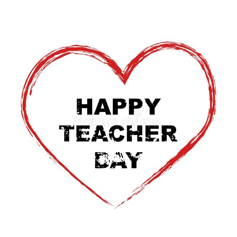 inscription happy teacher day stock vector  illustration