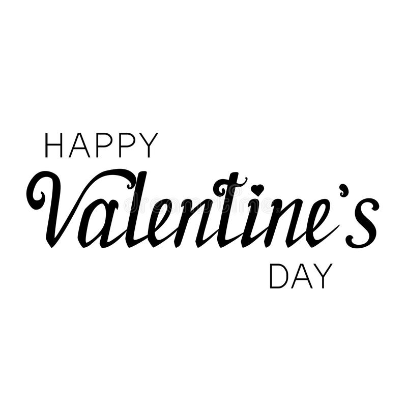 The inscription of a happy Valentine`s Day. Hand lettering royalty free illustration