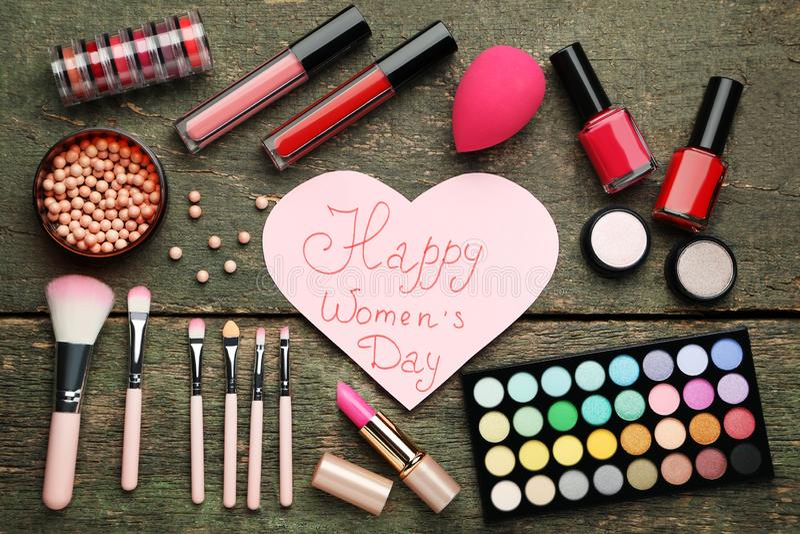 Inscription Happy Women`s Day stock image